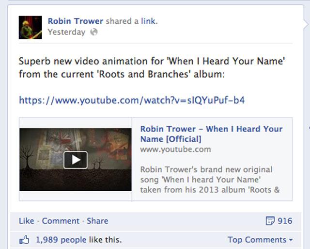 Robin Trower Facebook stats